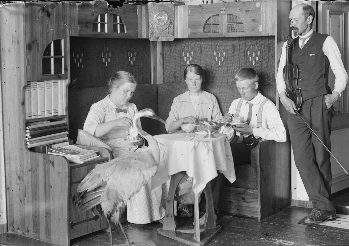 Valokuvaaja J. H. Aho ja vaimo Tyyne Aho vierailulla Virtain Liedenpohjan Peltomaan talossa, Aho J. H., kuvaaja 1917–1919, Museovirasto Musketti